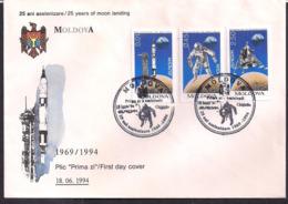 Moldova - 1994 - FDC - 25 Ans D'alunissage - FDC & Gedenkmarken