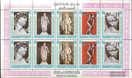 Aden - Upper Yafa 17A-21A Sheetlet (complete Issue) Fine Used / Cancelled 1967 Sculptures - Yemen