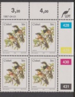 South Africa-Ciskei Scott R19 1981 Birds,16c Batis Capensis Dated 1987,Block 4,mint Never Hinged - Ciskei