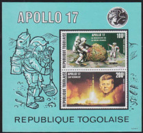 TOGO 1971 Space Mineral Rock President Kennedy IMPERFORATE Sheetlets - Mineralien