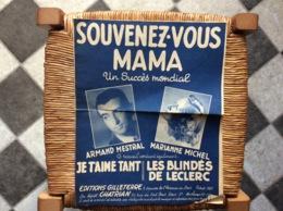 PARTITION MUSICALE *SOUVENEZ-VOUS MAMA *JE T'AIME TÀNT *LES BLINDÉS DE LECLERC  Armand Mestral Marianne Michel - Scores & Partitions