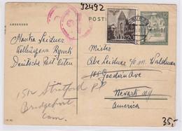 GG: Ganzsache Von Kolbuszowa Nach USA - Besetzungen 1938-45
