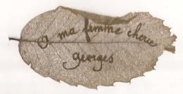 FEILLE D'ARBRE AJOUREE / ARTISANAT MILITAIRE / DENTELLE DE FEUILLE D'ARBRE / A MA FEMME CHERIE GEORGES E21 - 1914-18
