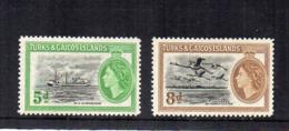 Turks & Caicos Island - 1955 - Nave E Uccelli - 2 Valori - Nuovi - Linguellati - (FDC16974) - Turks E Caicos