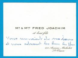 Mr & Mme FRED JOACHIM 100 AVENUE MICHELET ST OUEN - Cartes De Visite