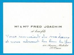 Mr & Mme FRED JOACHIM 100 AVENUE MICHELET ST OUEN - Cartoncini Da Visita