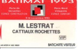 Carte Salon  Magnétique Batimat 1993  Card Karte (G196) TBE - Cartes De Salon Et Démonstration