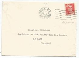 GANDON 6FR ORANGE N° 721 SEUL LETTRE PARIS 123 1947 - Postmark Collection (Covers)