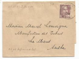 GANDON 4FR VIOLET SEUL BANDE COMPLETE COURBEVOIE 1948 AU TARIF IMPRIME - Poststempel (Briefe)