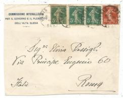SEMEUSE 5CX3+10C PARIS 1920 DEVANT LETTRE ENTETE COMMISSIONE INTERALLEATA GOVERNO PLEBISCITO SLESIA - 1877-1920: Semi-moderne Periode