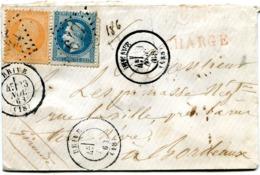 CORREZE De BRIVE Env. CHARGE Du 23/11/1868 Avec N°23+ N°29 Oblitérés GC 647 - Marcofilie (Brieven)