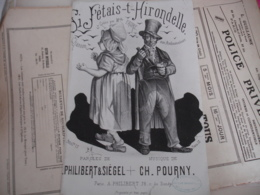 Partition Musique Ancienne Gravure Si J Etais L Hirondelle Cafe Concert Ambassadeur Si  J Etais L Hirondelle - Muziek & Instrumenten