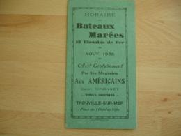 Magasins Aux Americains Daniel Simonnet Trouville Horaire Bateaux Marees Aout 1938 Depliant Publicite - 1900 – 1949