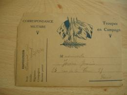 Troupes En Campagne  4 Drapeaux Allies Bleu Carte Franchise Postale Militaire Guerre 14.18 - Marcophilie (Lettres)