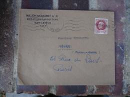 Poissons 52 Griffe Marque Lineaire Obliteration De Fortune Sur Lettre - Marcophilie (Lettres)
