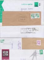 Lot De 12 Lettres Oblitération Cachet Composteur Dit UNIQUE Format Rectangle LA POSTE Type A200B Assimilé LYON 69 Rhone - Marcofilia (sobres)