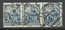 ESTLAND Estonia 1925 Michel 59 Als 3-Streife O - Estland