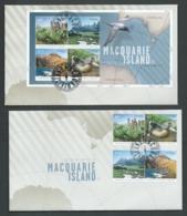 Australian Antarctic Territory 2010 Macquarie Island Set Of 4 & Miniature Sheet On 2 Official FDC Kingston Cds - FDC