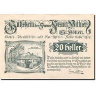 Billet, Autriche, St Pölten, 20 Heller, Hôtel 1920-11-30, SPL, Mehl:FS 927 - Autriche