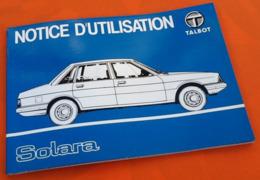Notice D' Utilisation Talbot Solara - Auto