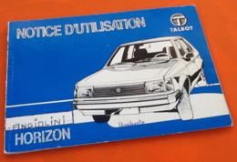 Notice D' Utilisation Talbot Horizon - Auto