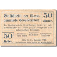 Billet, Autriche, Gross-Pertholz, 50 Heller Valeur Faciale, 1920 SPL Mehl:FS 295 - Autriche