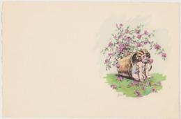Dessin De Germaine Bouret Sur Genre De Papier Velin ( Format 24 X 16 ) PETITE FILLE DANS ROSES - Bouret, Germaine