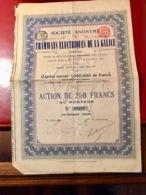 S.A.  Des  TRAMWAYS  ÉLECTRIQUES   De  La  GALICE -------Action  De  250 Frs - Chemin De Fer & Tramway