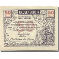 Billet, Autriche, Tausendblum, 50 Heller, Personnage, 1920 SPL Mehl:FS 1060 - Autriche