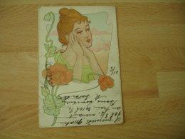 Belle Carte Fantaisie Style Art Nouveau Portrait Femme Coquelicot - Phantasie