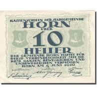 Billet, Autriche, Horn, 10 Heller, Blason, 1920, 1920-07-31, SUP, Mehl:FS 397IId - Autriche