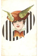 """Pretty Lady With Fantasy Hat"" Nie Vintage Italian Postcard - Mujeres"