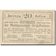 Billet, Autriche, Gross-Pertholz, 20 Heller Valeur Faciale, 1920 SPL Mehl:FS 295 - Autriche