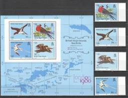 Y481 1980 BRITISH VIRGIN ISLANDS FAUNA BIRDS #387-90 1SET+1KB MNH - Birds