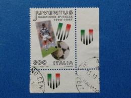 1997 ITALIA FRANCOBOLLO USATO STAMP USED CALCIO SCUDETTO JUVENTUS CON APPENDICE ANGOLO - 6. 1946-.. Repubblica