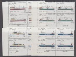 Malta 1987 Ships 4v Bl Of 4 (corner) ** Mnh (44754A) - Malta