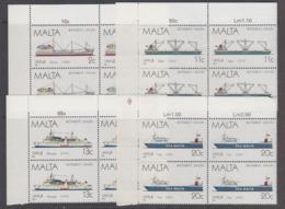 Malta 1987 Ships 4v Bl Of 4 (corner) ** Mnh (44754B) - Malta