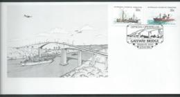 Australian Antarctic Territory 35c & 50c Ship Definitives On Brisbane Gateway Bridge Opening 1986 Cover - FDC