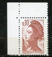 France, Spink/Maury, 2184d**, Liberté 10c Rouge Brun Papier Couché, Signé, MNH - Variétés Et Curiosités