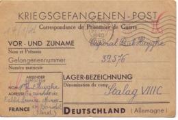 Militair Oorlog Kaart Carte Kriegsgefangenen Post Lager Stalag VIIIC - Caporal Paul Huyghe - Marcq En Baroeul 1940 - Documents