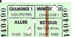 74  Ticket Téléphérique, Funiculaire Montenvers, Chamonix, Mont-Blanc, Haute Savoie - Europe