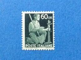 1945 ITALIA FRANCOBOLLO LINGUELLATO MLH* DEMOCRATICA DA 60 CENT - 6. 1946-.. Repubblica