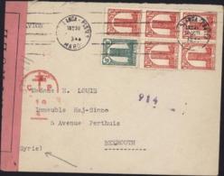 Enveloppe Censure Croix Lorraine Liban + Bande Contrôlé CAD Casablanca Maroc 1944 Arrivée Beyrouth Syrie 16 XI 44 - Marocco (1891-1956)