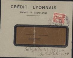 Enveloppe Crédit Lyonnais Agence Casablanca YT Maroc 213 Perforé CL CAD 29 9 43 Casablanca Bourse - Maroc (1891-1956)