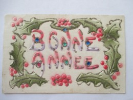 FEUILLES  DE   HOUX  -   GAUFFREE  ET BRILLANTS  -  BONNE  ANNEE     ...          TTB - Fantasie