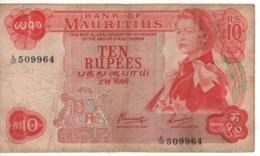 MAURITIUS   10 Rupees   ( Queen Elizabeth II )  P31c.       ND 1967 - Mauricio
