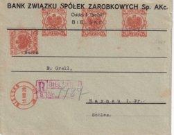 POLOGNE 1928 LETTRE RECOMMANDEE EMA DE BIELSKI AVEC CACHET ARRIVEE HEYNAU - Marcophilie - EMA (Empreintes Machines)