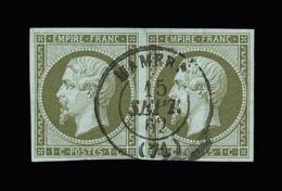FRANCE N° 11 1c Olive Napoléon III. Paire Oblitérée Petit Cachet à Date Mamers. Cote Yvert 225 €. SUPERBE - 1853-1860 Napoléon III