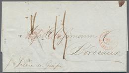 "Transatlantikmail: 1841, Folded Letter From NEW YORK Via Le Havre To Bordeaux. Red Oval ""FORWARDED T - Sonstige - Europa"