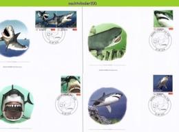 Nfd15fb FAUNA 'VISSEN FISH FISCHE' WITTE HAAI MENSENHAAI GREAT WHITE SHARK HAIE MARINE LIFE SAMOA 2014 FDC's - Marine Life